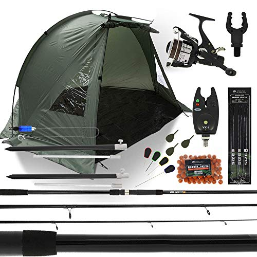 DNA Leisure Complete Carp Fishing Bivvy Shelter Set up With 12ft 3 Piece Rod Reel Bite Alarm +...