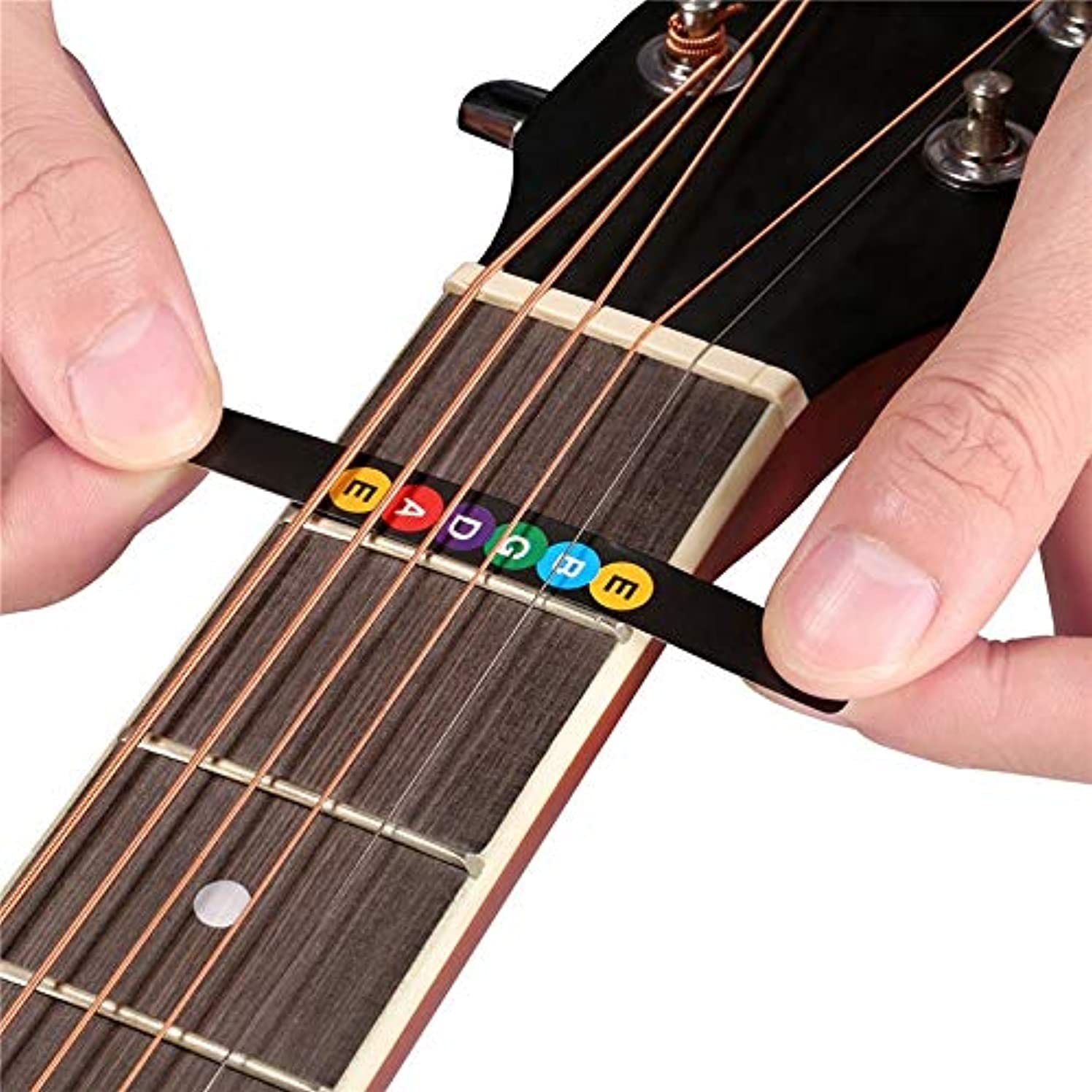 Lessonmart Colorful Guitar Fretboard Note Decal Beginners Fingerboard Sticker Label Map Frets Scale for 6-String Acoustic or Electric