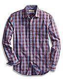 Goodthreads Men's Slim-Fit Long-Sleeve Gingham Plaid Poplin Shirt, Blue/Burgundy, Large
