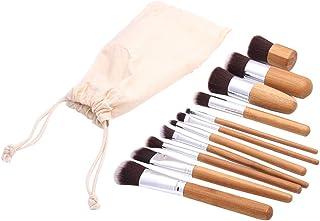 Lurrose 11ピース化粧ブラシ屋外用ホームリネンポーチ付き竹ハンドル化粧ブラシ