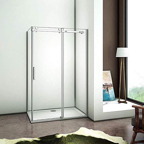 Aica Sanitär 8mm NANO Glas 155x195cm Duschtür Nischentür Duschabtrennung Duschwand Schiebetür mit Seitenwand 80cm