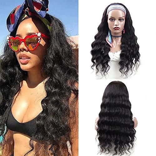 FZYHair Headband Wigs Human Hair Wigs for Black Women Loose Deep Weave Wigs With Headband Glueless Brizilian Virgin Hair Wigs 150% Density 16inch Half Wigs Easy Wear None Lace Wigs Natural Color