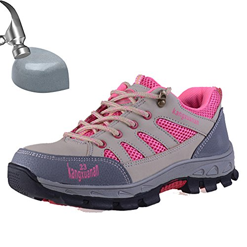 SUADEEX Damen Herren Arbeitsschuhe Stahlkappe Sicherheitsschuhe Sportlich Trekking Wanderhalbschuhe Hiking Schuhe Traillaufschuhe- Gr. EU 34=Aisa 35, Pink