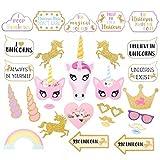 thematys Cumpleaños de niña Unicornio Decoración Cuadro de Foto Prop - Photo Booth Accesorios - Imágenes Divertidas y memorables - 30 Piezas