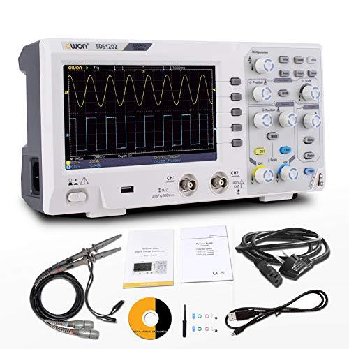 OWON Osciloscopio SDS1202,Osciloscopio de almacenamiento digital,2 canales 200Mhz ancho de banda USB osciloscopios 1GS/s