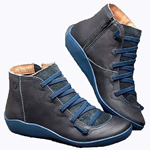 WggWy - Botas de tobillo para mujer, estilo retro, con marco de cremallera lateral, estilo vintage, piel impermeable, con amortiguador, zapatillas de tacón, color azul, 40