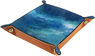 JINGTIAN Blue Anime Girls Folding Dice Tray, PU Leather Dice Holder Rolling Trays for RPG Dice Gaming D&D and Other Table Games