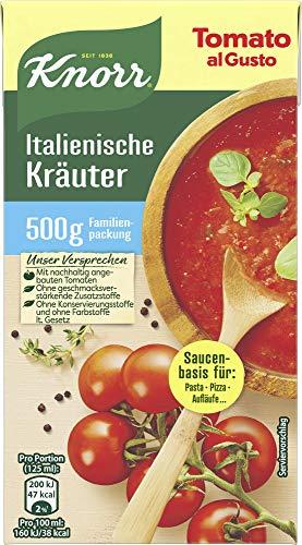 Knorr Tomato al Gusto Tomatensauce Italienische Kräuter (mit sonnengereiften Tomaten für Pasta, Pizza und Aufläufe), 16er Pack (16 x 500 g)