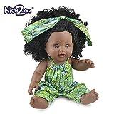 Nice2you Poupée Afro-Américaine Réalistes 12 Pouces Bébé Poupées pour Enfants Jouets pour Enfants (Vert)