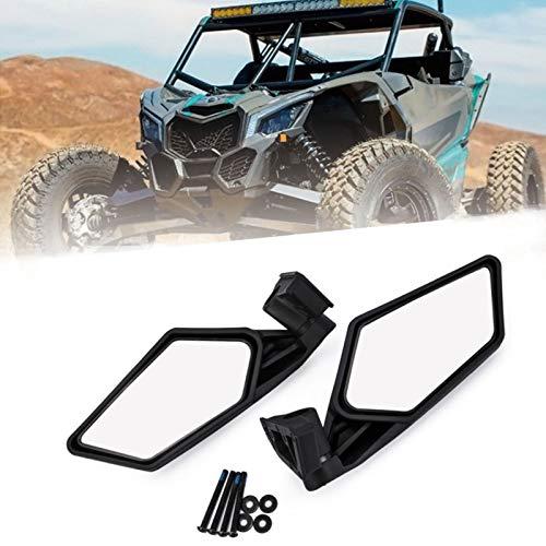 TERMALY 1 Par de Espejos Retrovisores Laterales Modificados para Utv Maverick X3 Espejo para Buggy de Playa Todo Terreno,Gran Campo de VisióN Reflectante,Longitud del Espejo 8.3',Grosor: 2.3',Black
