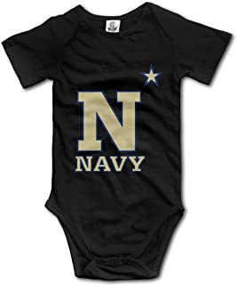 US Navy Naval Academy Baby Girls' Jumpsuit Short Sleeve Bodysuit Romper Fashion Clothes for 0-24 Months Baby