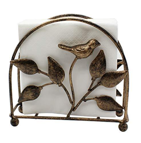 Cast Iron Bird & Tree Classic Napkin Holder/Tabletop Freestanding Tissue Dispenser, Bronze