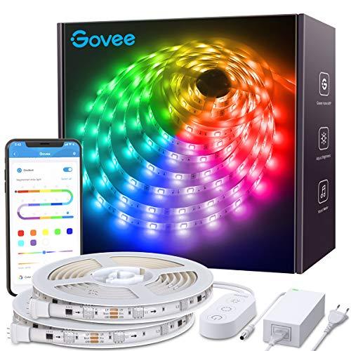 Smart LED Streifen Dreamcolor, Govee 2 x 5m LED Strip Sync mit Musik, Heller 5050 led Band Leiste gesteuert mit Controller & APP, Wasserdicht Selbstklebend LED Schlauch für Innenbereich & Außenbereich