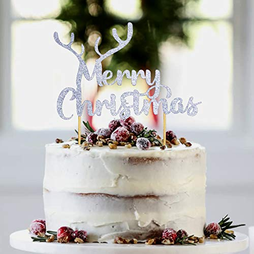 Party Port Merry Christmas Cake Topper with Reindeer Antler | Holiday Reindeer Cake Decorations, Christmas Table Decorations, Reindeer Cake Topper