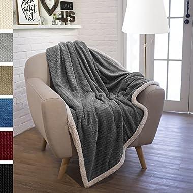 PAVILIA Premium Sherpa Throw Blanket for Sofa, Couch | Soft, Fuzzy, Cozy, Fluffy Lightweight Microfiber Fleece | Grey Reversible Plush Chevron Pattern Textured Lap Blanket (50 x 60 Inches, Gray)