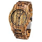 Reloj de Hombre con la Venda de Reloj de Madera de la Cebra, BEWELL W086B Reloj análogo de la Fecha de la Hora 12H Quratz para los Hombres