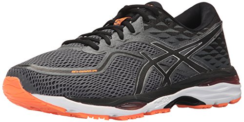 ASICS - Zapatillas de running GEL-CUMULUS 19 para hombre, gris (carbón/negro/anaranjado intenso), 39 EU