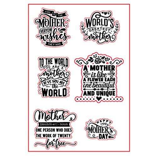 Sello de silicona transparente para el Día de la Madre, para manualidades, álbumes de recortes, álbum de fotos, papel decorativo