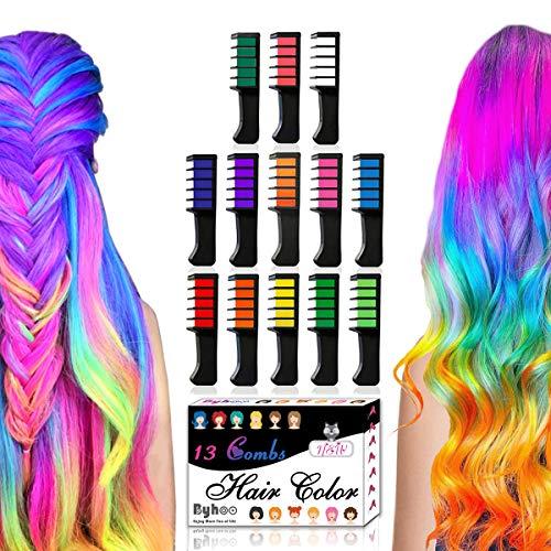 13 Stück Haarkreide Kamm, Byhoo Temporär Haarfarbe Kreide Haarkreide Auswaschbar Temporäre Einmalige Haar Colorationen Ungiftig Haarfarbe für Kinder Mädchen Party Cosplay