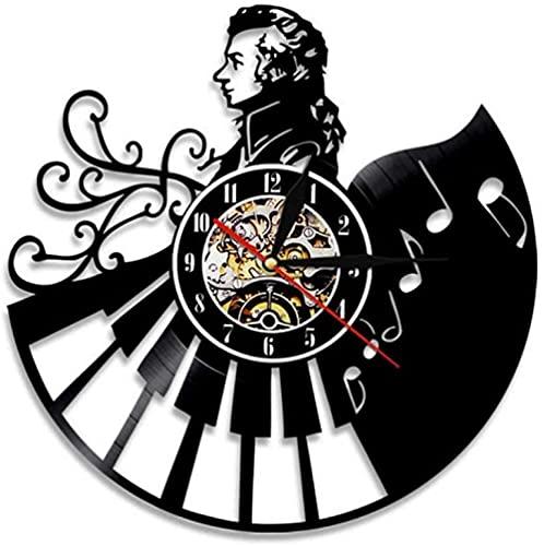 Wwbqcl Músico Reloj de Pared de Vinilo Retro Moderno y decoración del hogar Reloj de Pared Reloj de Cuarzo Mudo Regalo de Ventilador Creativo