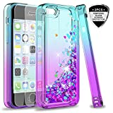 LeYi Compatible for iPhone 5C Case with Tempered Glass Screen Protector for Girls Women,LeYi Cute Shiny Glitter Moving Quicksand Clear TPU Protective Phone Case Cover for Apple iPhone 5C, Teal/Purple