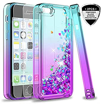 LeYi Compatible for iPhone 5C Case with Tempered Glass Screen Protector for Girls Women,LeYi Cute Shiny Glitter Moving Quicksand Clear TPU Protective Phone Case Cover for Apple iPhone 5C Teal/Purple