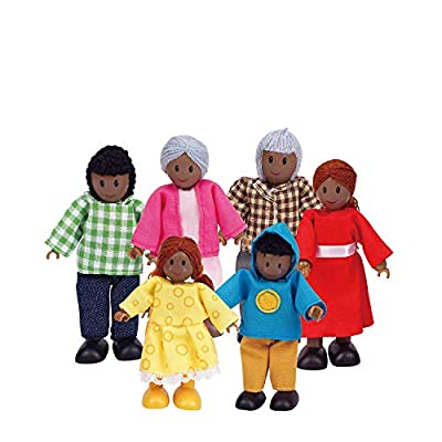 Hape African American Wooden Doll House Family