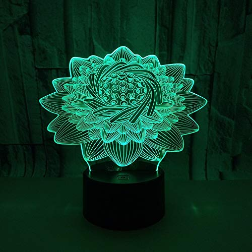 Only 1 Piece Lotus 3D Lamp Desk Creative Led USB 3D Light Fixtures Touch Illusion Colorful Lotus Led Night LightKids Lamp