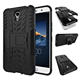 Qlez Heavy Duty Drop Test Pass Dual Layer Hard Rugged Bumper Back Media View Kickstand Cover for Lenovo Zuk Z1 - Black
