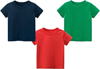 Yitow Boys 3-Pack Cotton Summer Pure Colour Short Sleeve T-Shirt 2-7Years