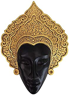 Design Toscano Thai Court Dancer Mask Wall Sculpture, 15 Inches, Two Tone Gold & Black