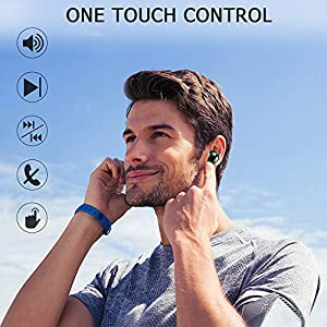 Wireless Earbuds, IPX8 Waterproof Bluetooth 5.0 Headphones in-Ear Built-in Mic, Headset for Driving/Work/Sports,True Wireless Earbuds for iOS Android, 3500mAh 150H Playtime Auto-Pair Touch-Control