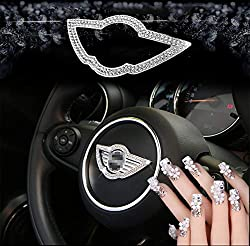 Mini Steering Wheel Bling Crystal Badge Emblem