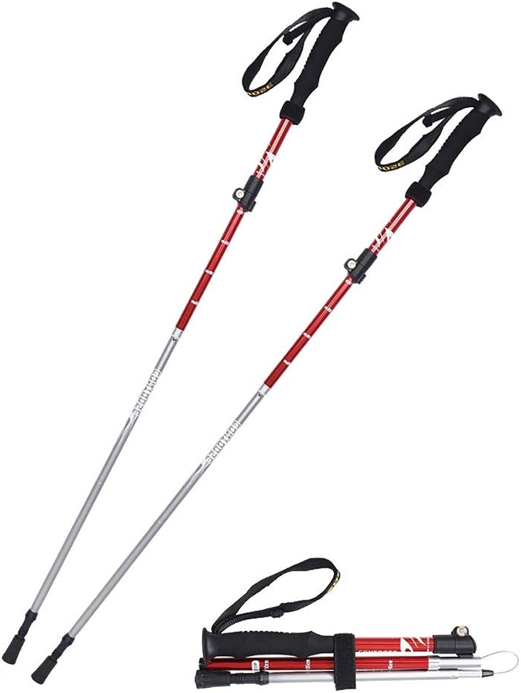 ROCKFEATHER Trekking Poles Collapsible Lightweight HighStrength WearResistant Aluminum Alloy Adjustable Mountaineering Equipment Lightweight,Straight Handle,2PCS,Accessories&Carry Bags