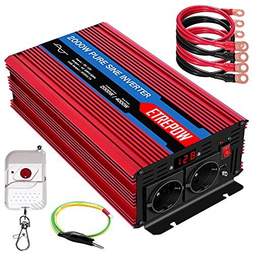 Inversor 12V 220v Onda Pura 2000W  4000W ETREPOW Convertidor de Voltaje con 2 Tomas UE y un USB de 2,1A, Mando a Distancia Inalámbrico, Pantalla Digital y 2 Ventiladores-Auto Transformador