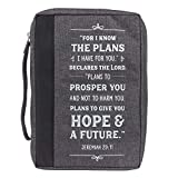 Christian Art Gifts Men/Women's Bible Cover I Know The Plans Jeremiah 29:11, Gray Canvas, Large