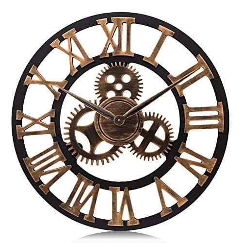 Lafocuse Reloj de Pared Grande Engranajes Retro Madera Reloj de Cuarzo Oro Industrial Creativo Silencioso Números Romanos para Salon Bar Restaurante 58cm