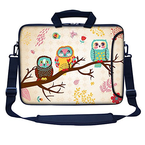 Meffort Inc 17 17.3 inch Neoprene Laptop Bag Sleeve with Extra Side Pocket, Soft Carrying Handle & Removable Shoulder Strap for 16' to 17.3' Size Notebook Computer (Three Owls)