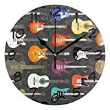 DragonSwordlinsu COOSUN Reloj de pared con fondo de guitarra