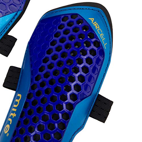 Mitre Aircell Carbon Slip Football Shin Pads, Blue/Cyan/Yellow, Large