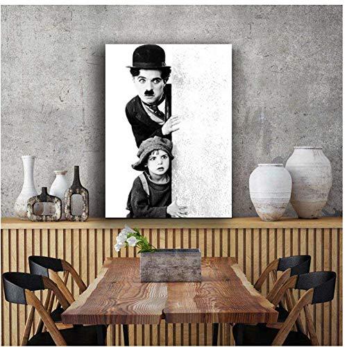 A&D Schwarz-Weiß-Klassiker Charles Chaplin Filmplakat Wandbild Leinwand Kunstdruck Kunstwerk Malerei Dekor Druck auf Leinwand-60x80cm No Frame