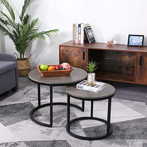 KOTPOP Industrial Nesting Round Coffee Table for Balcony Living Room,Modern Wooden Side Table Set of 2 with Sturdy Metal Legs and Easy Assemble, Weathered Oak