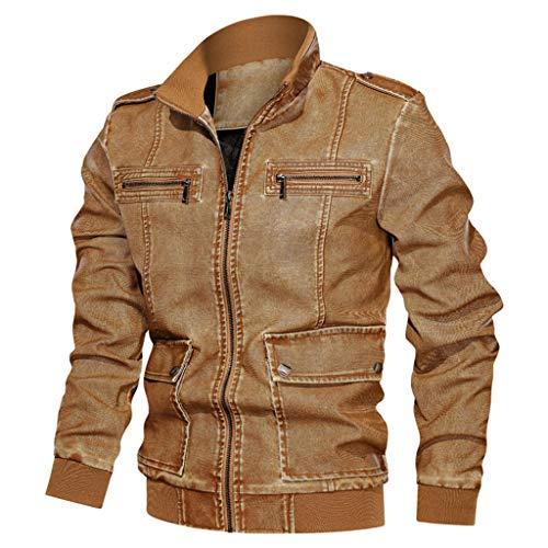 Marr/ón, 2XL JET Chaqueta Moto Cuero Hombre con Protecciones Vintage Clasico Iconico Retro BRANDO