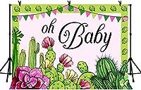 新しい10x7ftああ赤ちゃんの背景漫画サボテン植物写真の背景ベビーシャワーの子供の誕生日パーティーの装飾バナー写真ブーススタジオ小道具