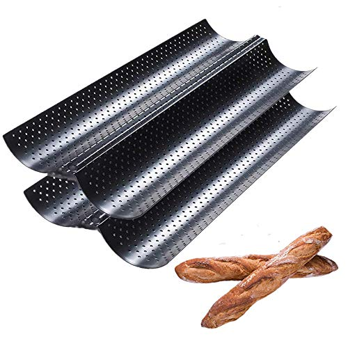 Perforated Baguette Pan, 2 Pack French Bread Baking 2/3/4 Wave Loaves Loaf Bake Mold Toast Cooking Bakers Molding Gutter Oven Toaster Pan (Black, 15' x 6.5')