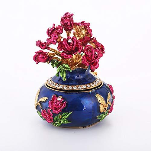 DONG Vintage Handbemalte Vase Metall Faberge Ei Strass Schmuck Schmuck Box Andenken Halloween Schmuckschatulle,Blue