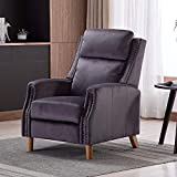 Artechworks Velvet Manual Pushback Recliner Chair for Living Room - Single Sofa Home Theater Seating for Small Spaces - Comfortable Bedroom & Living Room Chair Reclining Sofa, Grey