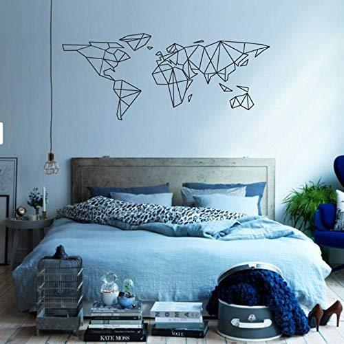 WERWN Arte de la Ciencia, calcomanía de Pared, Mapa del Mundo geométrico, Pegatina de Vinilo, Oficina, Aula, Sala de Juegos, Dormitorio, decoración Interior del hogar, Mural Moderno