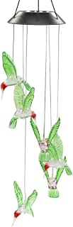 solar-powered color-changing hummingbird wind chime