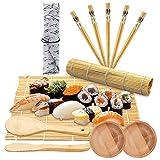 LONGCHAO Kit para Hacer SSushi 12PCS, Kit para Hacer Sushi de Bambú, 5 Pares de Palillos con Bolsita, 2 Esterillas,Paleta de Arroz,Esparcidor de Arroz,Kit para Hacer Sushi de Bambú